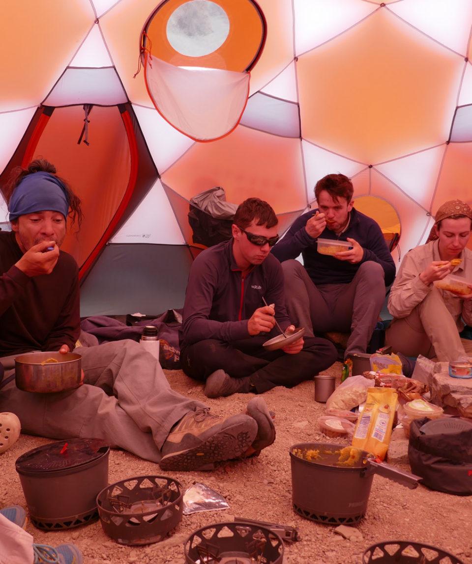 Communal tents at high camps keep moral