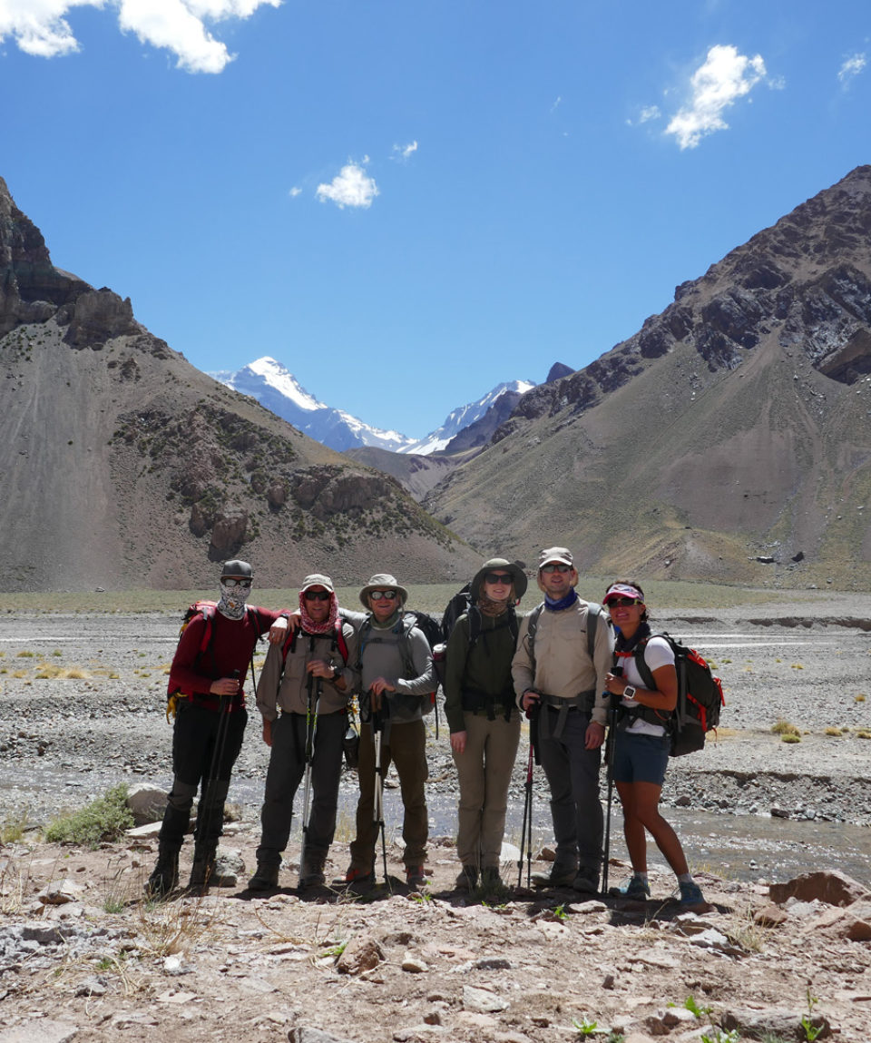 end of day 2 trek first views of aconcagua