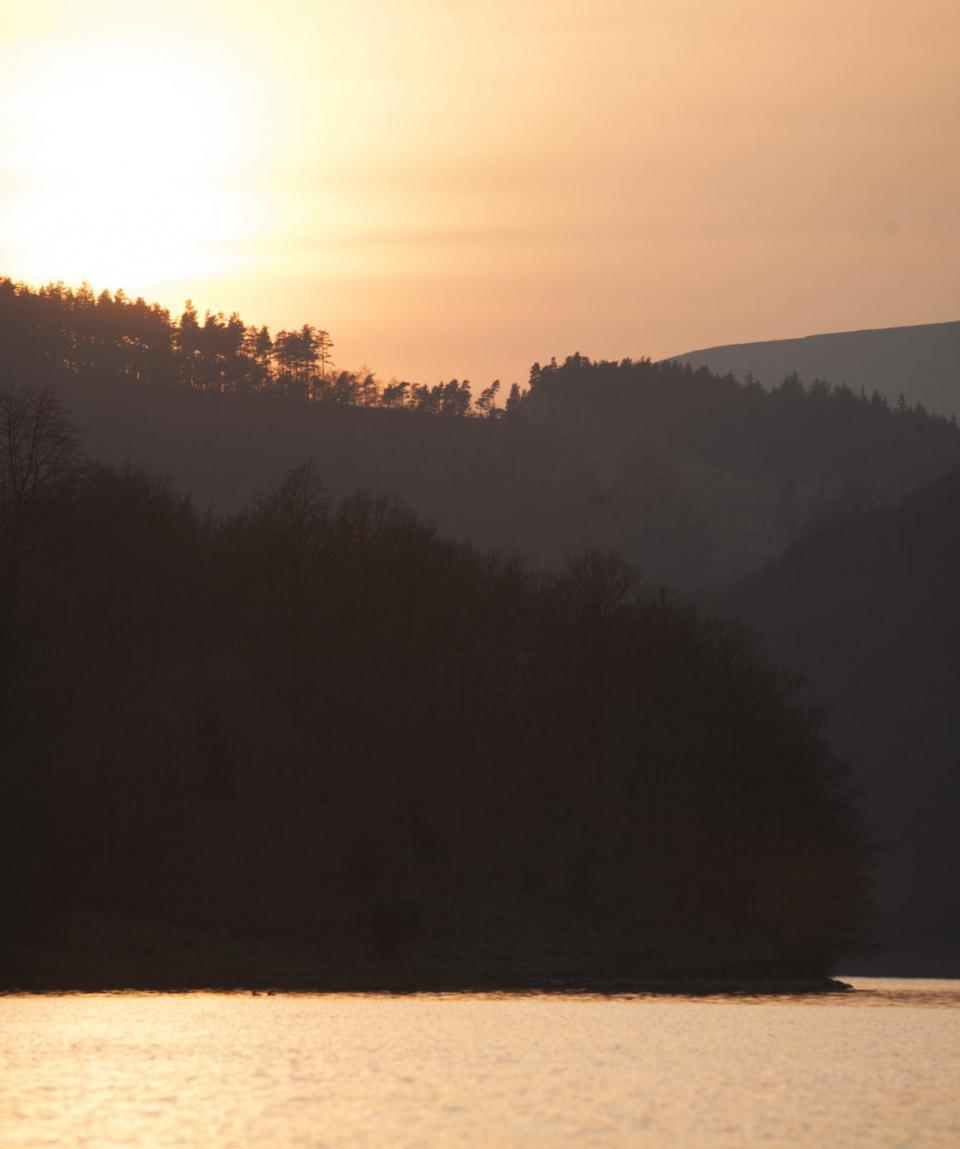 sunset  over ladybower