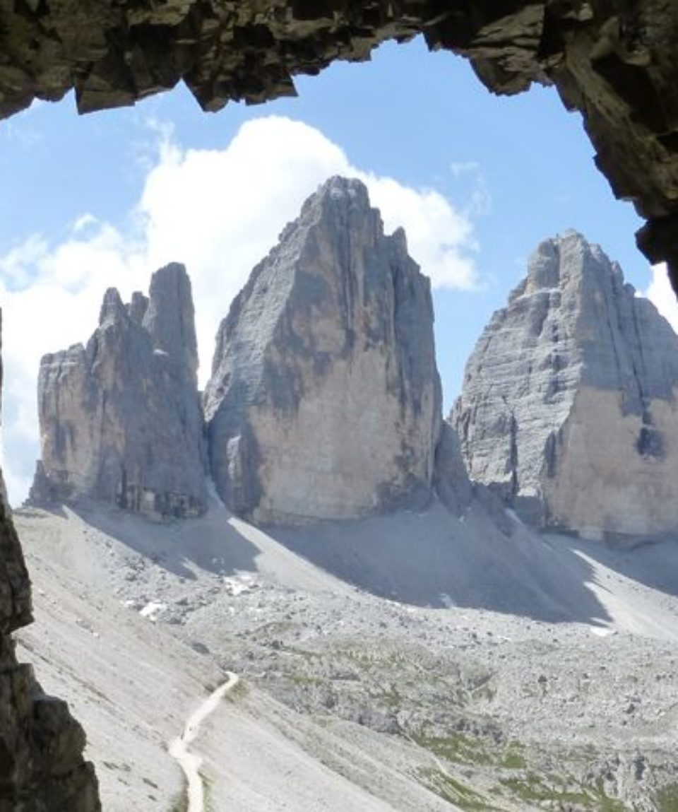 Tre Cime from a tunnel